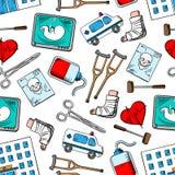 Ιατρικό άνευ ραφής υπόβαθρο με τα εικονίδια ιατρικής Στοκ Εικόνες