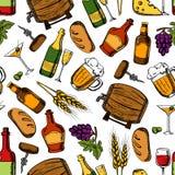 Виски паба, пить, предпосылка закусок безшовная Стоковые Изображения RF