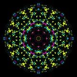 Абстрактная геометрическая яркая картина калейдоскопа Круглый орнамент цветка Стоковые Изображения RF