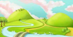 Τοπίο φύσης, υπόβαθρο παιχνιδιών κινούμενων σχεδίων Στοκ εικόνες με δικαίωμα ελεύθερης χρήσης