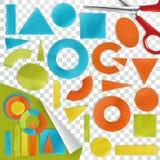 Κομμάτια χαρτί, γεωμετρικές μορφές Στοκ εικόνα με δικαίωμα ελεύθερης χρήσης