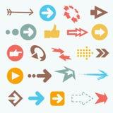 Иллюстрация вектора значков стрелки цвета большое собрание Стоковые Фото