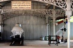 用栏杆围项目包括在显示的无盖货车和臂板信号在全国交通博物馆科伦坡斯里兰卡 免版税库存图片