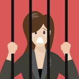 监狱的女商人 免版税库存照片
