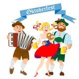 Баварские люди и женщина с большим стеклом пива Стоковое Изображение