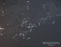 摩加迪沙,索马里地图  免版税库存照片