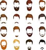 Стили причёсок шаржа людей с бородами и предпосылкой усика Иллюстрация вектора с значками стилей причёсок битников Стоковые Фото