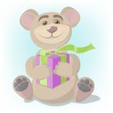 Принесите с подарком, карточкой, медведем шаржа дает подарок Стоковая Фотография