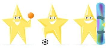 Αθλητισμός αστεριών κινούμενων σχεδίων, ποδόσφαιρο, καλαθοσφαίριση, σνόουμπορντ Στοκ Εικόνες