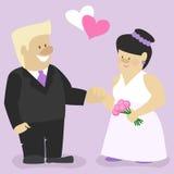 Γάμος, ένας άνδρας και μια γυναίκα που στέκονται στο βωμό, χαρακτήρες κινουμένων σχεδίων Στοκ Εικόνες