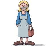 有假微笑的动画片妇女 库存图片