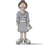 有假微笑的动画片妇女 库存照片