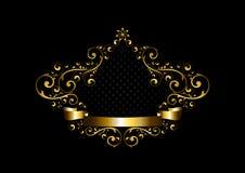 与书法装饰品的豪华金框架在东方样式 免版税库存照片