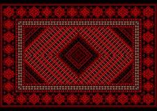豪华葡萄酒地毯在与原始的样式的红色树荫下 免版税库存照片