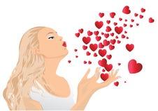 дуя поцелуи девушки Стоковые Фото