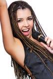 表面女孩俏丽的歌唱家 免版税库存照片