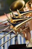 χρυσά τρομπόνια Στοκ φωτογραφία με δικαίωμα ελεύθερης χρήσης