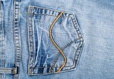 蓝色熟悉内情的牛仔裤老口袋纹理 免版税库存图片
