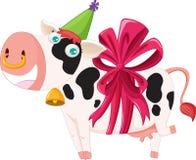 被包裹的母牛礼品 免版税库存照片