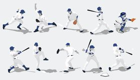 棒球剪影 免版税库存图片