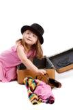 女孩装箱手提箱 免版税库存图片