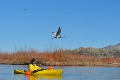 风景划独木舟的人的湖 免版税库存图片