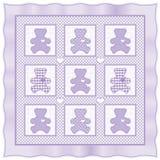 熊淡紫色被子女用连杉衬裤 免版税库存照片
