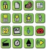 лоснистая зеленая сеть икон Стоковая Фотография