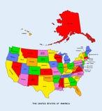 карта заявляет соединила нас Стоковые Изображения RF