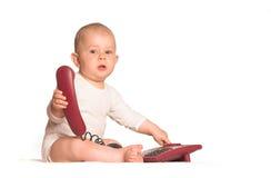 婴孩家庭电话 免版税库存图片