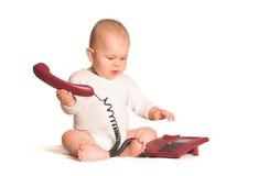 婴孩家庭电话 免版税图库摄影