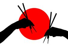 与筷子的现有量 库存照片