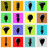 电灯泡图标轻的向量 库存图片