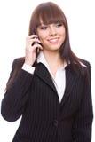 叫的商业妇女年轻人 库存图片