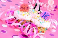 杯形蛋糕集会粉红色十六甜点 免版税库存照片
