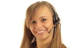 运算符微笑的电话年轻人 免版税库存照片