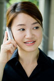 亚裔企业电话妇女 库存图片