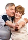 夫妇年长的人微笑 免版税库存照片