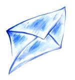 蓝色图画信封纸 免版税库存照片