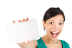 женщина пустой карточки Стоковые Изображения RF
