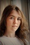 沮丧的女孩哀伤青少年 库存照片