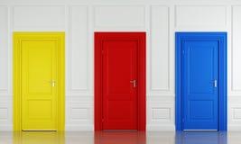 πόρτες τρία χρώματος Στοκ εικόνα με δικαίωμα ελεύθερης χρήσης
