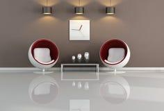 коричневая живущая минимальная белизна комнаты Стоковые Фото