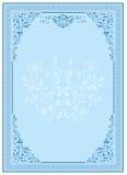 голубой флористический орнамент рамки Стоковая Фотография RF