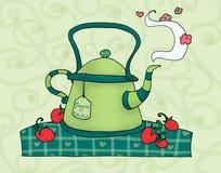 绿色茶壶 免版税图库摄影