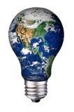 地球电灯泡 免版税图库摄影