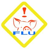 流感符号猪警告 免版税库存照片