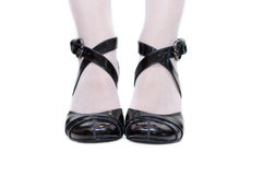 黑色女性凉鞋 库存图片