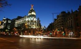马德里晚上 库存照片