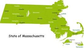 Карта положения Массачусетс Стоковые Изображения RF